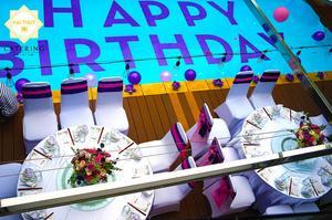 """Dòng chữ """"HAPPY BIRTHDAY"""" ngay giữa hồ bơi Lê Gia Trang Villa"""